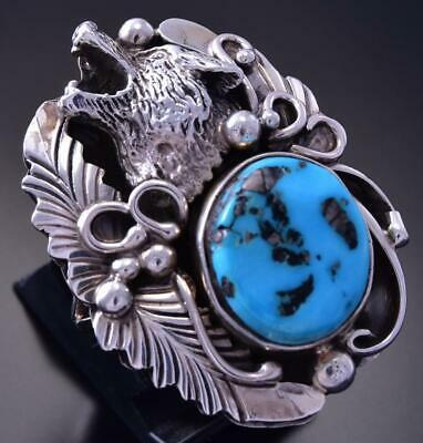 Size 8 Silver & Sleeping Beauty Turquoise Howling Wolf Navajo Ring by RB 9L01T