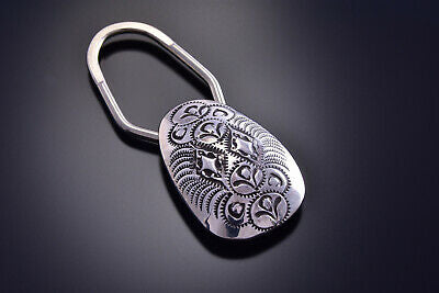Silver Handmade Stamped Key Fob Holder by Shirley Skeets - 9J14F