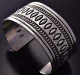 All Silver Concho Navajo Stamped Men's Bracelet by Erick Begay ZC27E