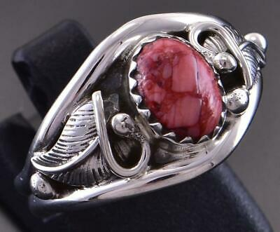Size 8-1/2 Silver & Apple Coral Two Feathers Navajo Ring by Roger Pino 1C31X