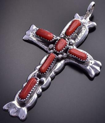 Sandcast Zuni Red Coral Cross Pendant by Goerge & Lupe Leekity 9J27Y