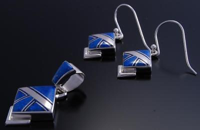 Silver Lapis & Jet Navajo Inlay Pendant & Earring Set by EA 7K07R