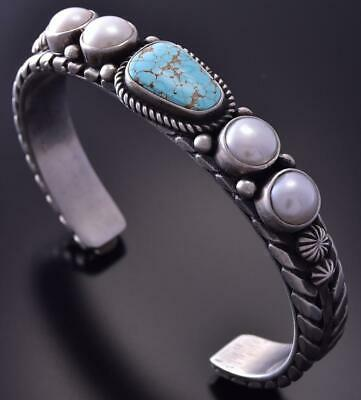Silver & #8 Spiderweb Turquoise & Fresh Pearl Navajo Bracelet Erick Begay ZC27T