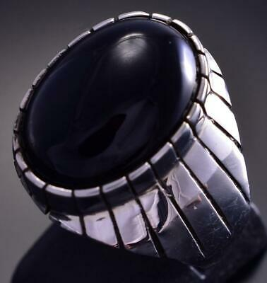 Size 10-3/4 Silver & Onyx Round Navajo Men's Ring by Ray Jack 9E15P