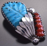 Carved Turquoise & Coral Pendant by Lyolita Tsattie 9C23S