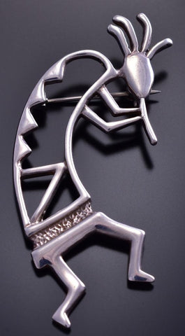 Vintage All Silver Open Design Kokopelli Navajo Brooch or Pin 9F06L