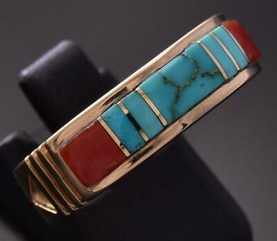 Size 9-3/4 14k Gold & Turquoise & Coral Navajo Inlay Ring by Erick Begay ZD07D