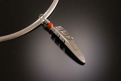 Medium Silver Feather with Coral Accented Pendant by Ray Tracey - ZC23G