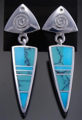 Silver Two King of Turquoise Arrowhead Earrings by Ray Tracey 7K16Q
