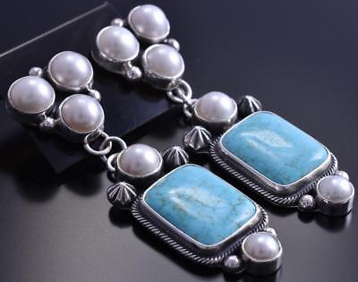 Silver &#8 Spiderweb Turquoise Pearl Two Piece Square Earrings Erick Begay 8C06L