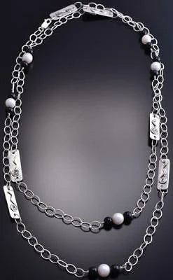 ZBM Silver & Onyx Bead with Fresh Water Pearl Long Necklace by Erick Begay 8F27X