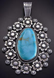 Silver & Turquoise Bed of Flowers Navajo Large Pendant by Erick Begay ZL07O