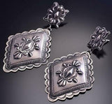All Silver Navajo Hand Stamp Large Dangle Earrings by Eugene Charley 9B28O