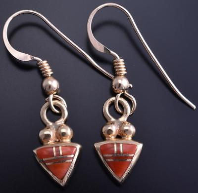14k Gold & Coral Navajo Inlay Triangular Earrings 8D04T