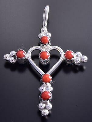 Reversible Turquoise & Coral Heart in Cross Pendant 9J24M