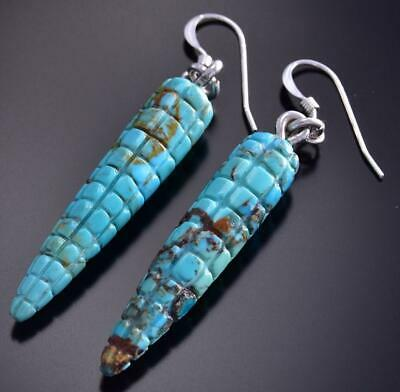 Carved Turquose Corn Earrings by Daniel Aguilar 9J16B