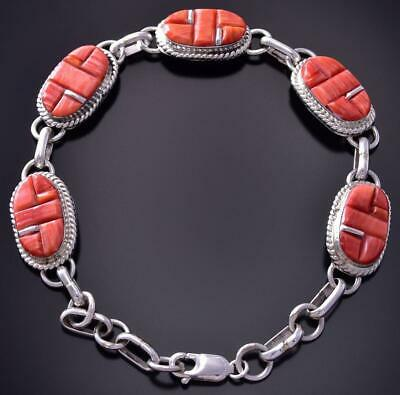 Silver & Spiny Oyster Shell Navajo Inlay Link Bracelet by Victor Thompson ZA28D