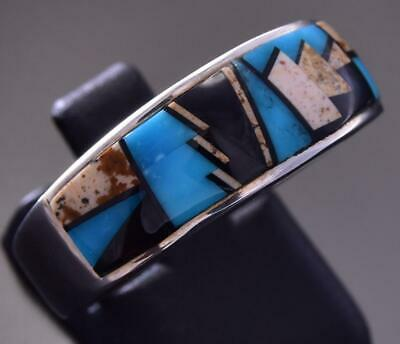 Size 10-1/2 Silver Turquoise Multistone Navajo Inlay Men's Ring by AT ZA08J