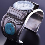 Vintage Silver Turquoise Two Feathers Men's Watch Bracelet 8B23H