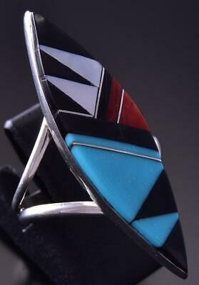 Size 7-3/4 Silver & Turquoise Multistone Zuni Inlay Ring by C. Kallestewa ZB24R