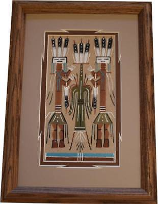 Navajo Sand Painting by Geln Nez 8C15H - 13-1/2 x 9-3/4