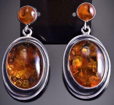 Vintage Silver and Amber Earrings 9D05B