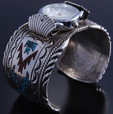 Vintage Silver Turquoise Coral Navajo Chip Inlay Men's Watch Bracelet JB 7K07W