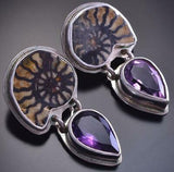 Vintage Ammonite & Amethyst Silver Earrings 9D05G