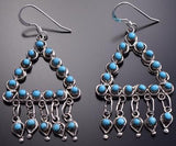 Silver & Turquoise Zuni Petty Point Dangle Earrings by Waylon Johnson 8G23O