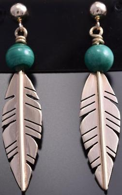 14k Gold & Malachite Navajo Pearl & Feathers Earrings by Erick Begay 8G30O