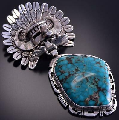 Vintage Silver & Turquoise Hopi Kachina Pendant by Bennie Ration ZL17O