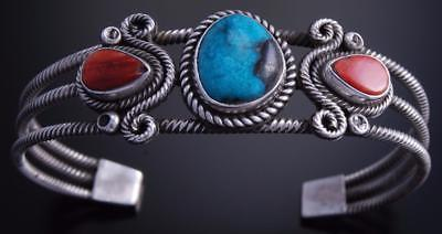 Silver Turquoise Double Coral Flow Bracelet by Val Tsosie 7H12D