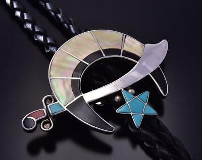 Silver Multistone Zuni Inlay Men's Shriner Bolo Tie by W & L Quandelacy ZA28N
