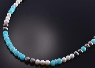 Silver & Amazonite & Fresh Water Pearl Navajo Necklace by Erick Begay 1C31F