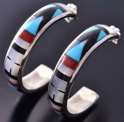 Silver & Turquoise Multistone Zuni Inlay Hoop Earrings by Delberta Boone ZE06U