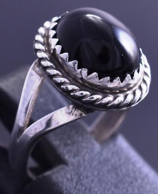 Size 4-3/4 Silver & Onyx Round Navajo Ring by Frances Begay 8C20O