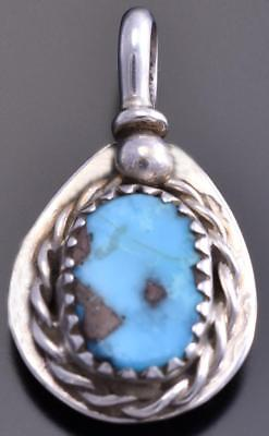Reversible Silver & Turquoise Bear Claw Small Navajo Pendant by Gary Henry 8E23O
