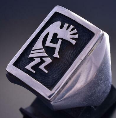 Size 10 Vintage All Silver Hopi Kokopelli Square Ring by Steven Sockyma 9F06P