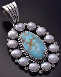 Silver & #8 Spiderweb Turquoise & Fresh Pearl Navajo Pendant Erick Begay ZC19P