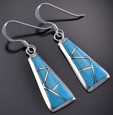Silver & Turquoise Zuni Inlay Rhomboid Earrings by Stewart Tucson 1C17X
