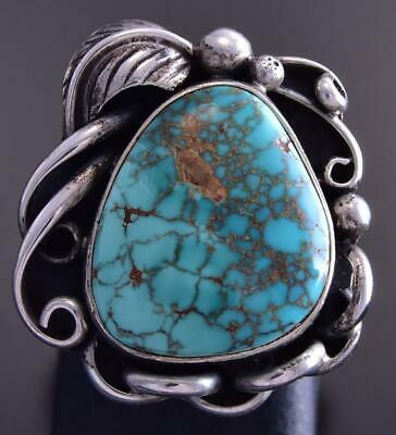 Vintage Size 4-3/4 Silver & Turquoise Feather Loop Frame Navajo Ring ZG23N