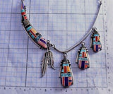 "Vintage 22"" Silver & Turquoise Multistone Navajo Inlay Feathers Necklace 9F26D"