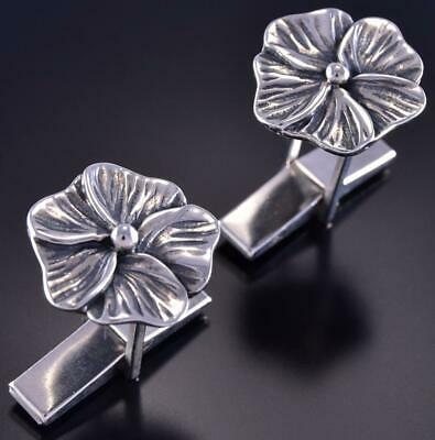 All Silver Southwest Flower Navajo Handmade Cuff Links by Erick Begay ZL10F
