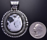 Large White Buffalo Turquoise Necklace Navajo Handmade 9J25Q