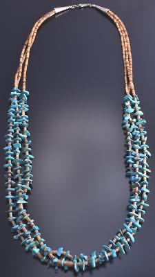 "27"" Three Strand Turquoise Navajo Necklace 8A22T"