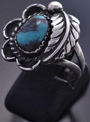 Vintage Size 8-1/4 Silver & Turquoise Navajo Feather Ring 9A11N