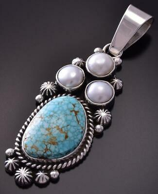 Silver & #8 Spiderweb Turquoise & Fresh Pearl Navajo Pendant Erick Begay ZC19G