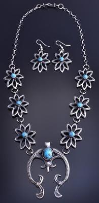 Silver & Kingman Turquoise Navajomade Star Necklace & Earring Set E Billah 8D19M