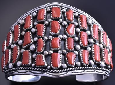 Vintage Silver Mediterranean Coral Wide Center Navajo Bracelet by IC 7L18F