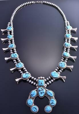 "Vintage 30"" Silver & Sleeping Beauty Turquoise Navajo Squash Blossom 9A02A"